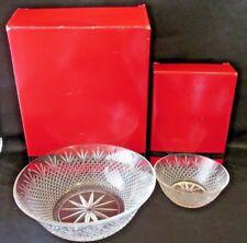 2 Avon Classic Crystal Collection Bowls Nib Diamond Fan Design