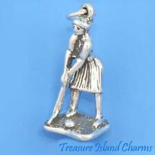 Golf Player Golfing Female Golfer 3D .925 Solid Sterling Silver Charm USA MADE