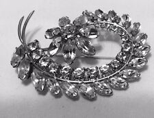 Sherman Jewelry Vintage Brooch Crystal Floral Cluster Pin Rhinestone Costume