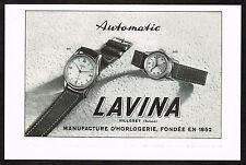 1950's Vintage 1950 Lavina Watch Co. Villeret Automatic Watches - Paper Print AD