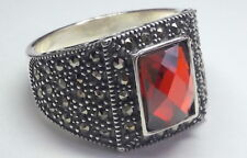 925 Sterling Silver Men's Ring with Totally Handmade Real Precious Ruby