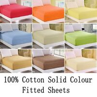 Fitted Sheets 100% Fine Cotton Solid Colour Single Double King Size Soft 400TC