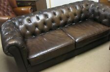 Chesterfield Three Seater Sofa in Distressed Brown Leather
