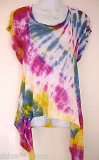 HIPPY HIPPIE TIE DYE WATERFALL SIDES JERSEY KNIT TOP NEW 12 14 size small 3010a
