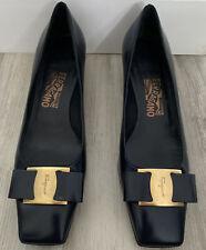 New Salvatore Ferragamo Vera Bow Pump Heels Navy Blue Patent Leather Size 10