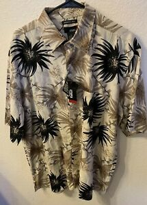 Utopia Mens 100% Silk Plant Festival Button Down Short Sleeve Shirt XL Hippie