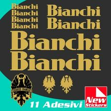 Set adesivi BIANCHI bici bike stickers decals frame colore ORO mod.OLD VINTAGE