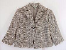 womens brown AUSTIN REED jacket blazer one button cotton linen 3/4 sleeve M 8
