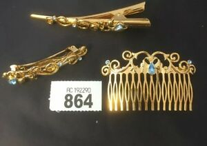 Selection Of Hair Accessories Clip, Comb & Barrette Gold Tone Clear Blue Stone