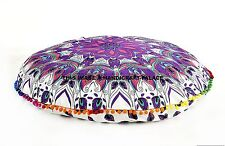 Indian Feather Mandala Floor Pillow Round Tapestry Cushion Cover Ottoman Pouf 32