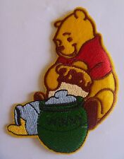 1 Iron On Sew On Machine Embroidered Applique Winnie the Pooh with Honey Pot