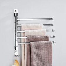 Bathroom Towel Bar Wall Mounted Rotating Rack Towel Shelf Holder Stainless Steel