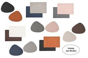 4 Stück Tischsets Platzsets Platzmatte 2 farbig zum Wenden Lederoptik abwischbar
