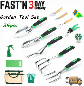 34pcs Garden Tool Set Heavy Duty Gardening Tools Gift Kit with Tote Bag Durable