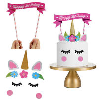 1 Set Cute Happy Birthday Unicorn Cake Topper Banners Baby Shower Party Decor