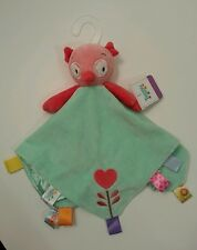 Taggies Pink Green Owl Heart Flower Satin Security Blanket Lovey NWT New