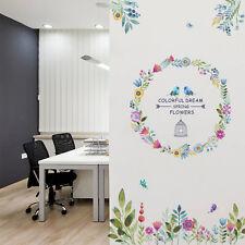Colorful Dreams Removable Vinyl Flower Bird Art Wall Sticker Home Room Decor