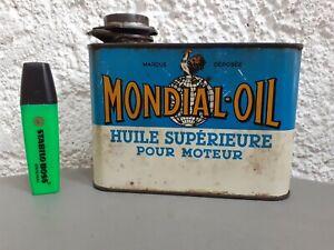 Petit 1L BIDON D'HUILE ancien MONDIAL OIL shell esso no hors bord