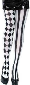 Harlequin Black & White Tights Diamond Pattern Ladies Adult Jester Harley Quinn