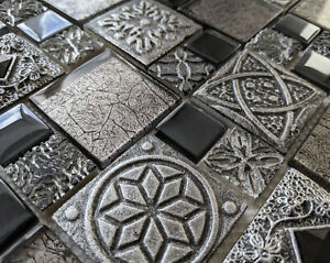 CELTIC ANGLO SAXON ANCIENT STONE METAL GLASS GREY BLACK 3D MOSAIC WALL TILE 8MM