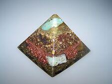 Orgonit Orgon Pyramide 9,4cm Amazonit Chrysopras Tigerauge Granit Turmalin Gold
