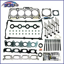 NEW ENGINE HEAD GASKET BOLTS + INTAKE & EXHAUST VALVES KIT AUDI VW TURBO 1.8L