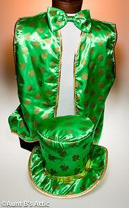 St. Patrick's Day Vest Hat & Bow Tie Set Satin Printed Costume Accessory Lg