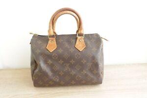 Authentic Louis Vuitton Speedy 25 Hand Bag Monogram Brown #9374