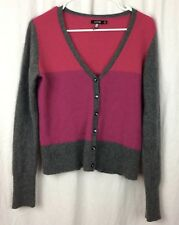 APT 9 Cashmire Sweater Button Down V Neck Size M Gray Pink Berry Long Sleeve
