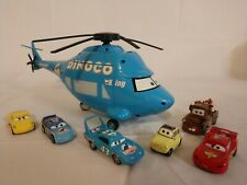 "Disney Cars - 14"" Dinoco The King Talking Helicopter w/ 6 Cars Mater McQueen"