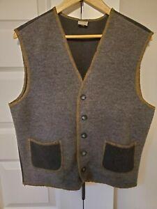 Vintage United Colors Of Benetton Wool Vest Gray Brown Size Small Made in Italy