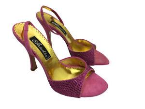 Claudio Milano Frances Cosacco Shoes Suede Pink Crystal Size 35 (US4.5 Italy 489