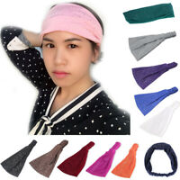 Women Fashion Head Wrap Soft Hair Band Rhinestone Headwear Turban Twist Headband