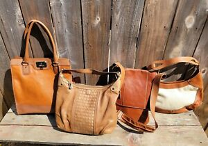 LOT 4 COLE HAAN COGNAC  LEATHER SHOULDER BAG'S WOVEN/TOTE CARRYALL/CROSSBODY