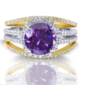 14k Gold Brilliant Amethyst CZ Wedding Engagement Silver Three Ring Set 2.35 Ctw