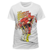 THE FLASH - SCARLET SPEEDSTER blur OFFICIAL COTTON T-SHIRT WHITE SHORT SLEEVE