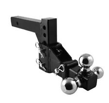 """HD 3 BALL ADJUSTABLE DROP-TURN TRAILER TOW 2"""" HITCH MOUNT TOWING TRUCK SOLID"""