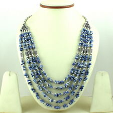 NATURAL BLUE SODALITE CHIPS GEMSTONE BEADED BEAUTIFUL NECKLACE 83 GRAMS