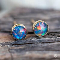 Small Round Natural Australian Triplet Black Opal Stud Earrings 14k Gold