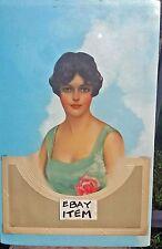 Circa 1950's SALESMAN SAMPLE diecut & embossed CALENDAR pretty lady with a ROSE