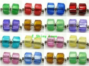 Fashion Faceted Resin Crystal Silver Core Beads Fit European Charm DIY Bracelet