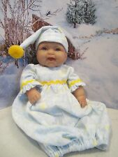 """baby doll clothes 14-16"""" yellow nightgown/cap fits berenguer/american bitty baby"""