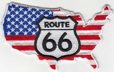 "ROUTE 66/Flag/Map Embroidered Patches 3""x5"""