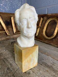 Antique Marble Alabaster Bust of Goethe SIGNED Louis Gallet Classical Sculpture