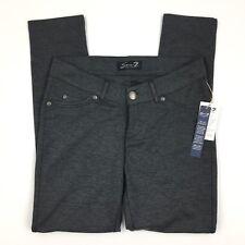 Seven Women's Heathered Gray Ponte Pants Faux Leather Trim Slim Leg 4 New