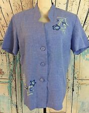 Adrian Delafield Haband Button Shirt Women L Blue Embroidery Short Sleeve Blouse