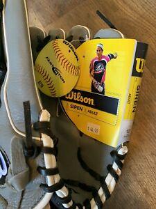 New! Wilson A500 Siren Fastpitch Softball Glove Left Handed GRAY