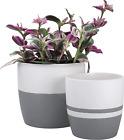Ceramic Round Planter Set For Indoor - Modern Minimalist Plant Pot With Matte &