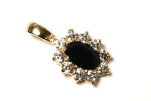 9ct Gold Sapphire and CZ cluster Pendant necklace no chain Gift Boxed Made in UK