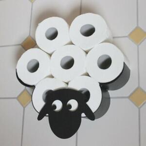 Black Sheep Toilet Roll Paper Holder Wall Mount Bathroom Tissue Storage Gift
